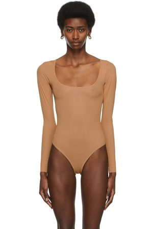 SKIMS Tan Jelly Sheer Long Sleeve Bodysuit
