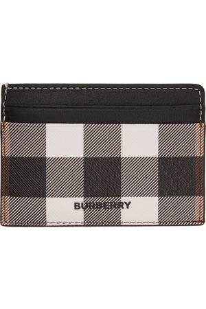 Burberry Black & White E-Canvas Check Kier Card Holder