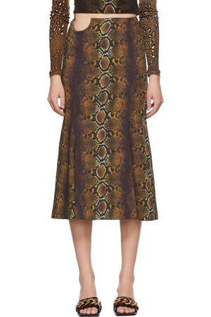 Versace Brown Python Print Skirt