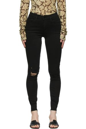 Frame Black 'Le High Skinny' Raw Edge Jeans