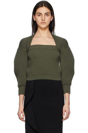 Alexander McQueen Rib Knit Square Neck Sweater