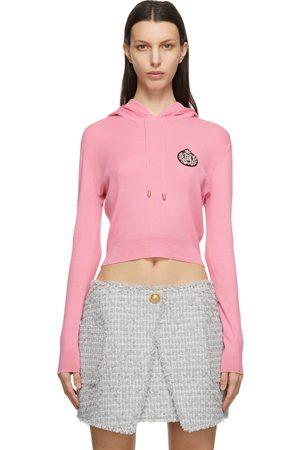 Balmain Cashmere Cropped Crystal-Logo Hoodie