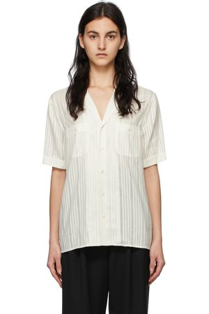 Saint Laurent Off- Silk Striped Short Sleeve Shirt