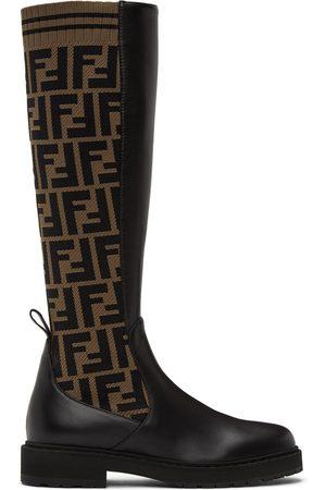 Fendi Brown & Black 'Forever Fendi' Rockoko Tall Boots