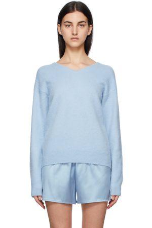 TOM FORD Blue Cashmere V-Neck Sweater