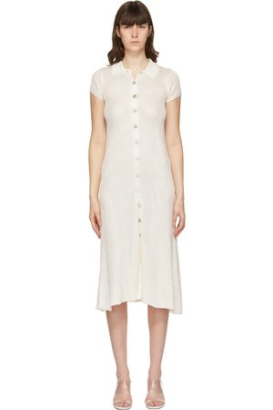 Calle Del Mar Off-White Knit Ribbed Long Dress