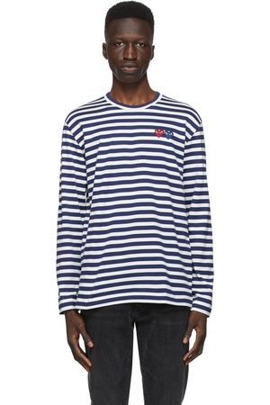 Comme des Garçons Play Navy & Striped Double Heart Long Sleeve T-Shirt