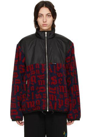 Palm Angels Navy & Red Paneled Monogram Pile Jacket