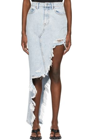 Alexander Wang Blue Denim Asymmetric Frayed Skirt