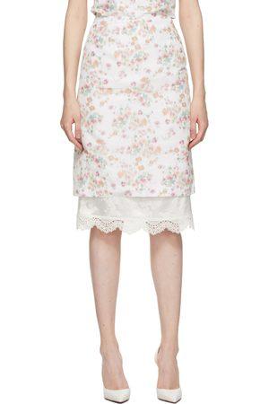 Commission White Floral Double Hem Pencil Skirt