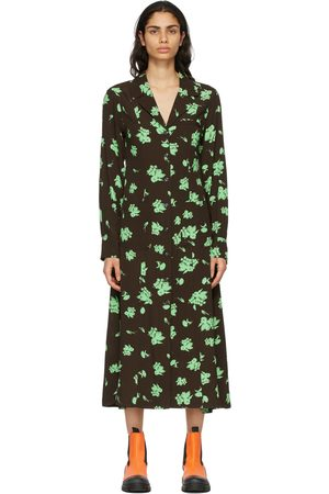 GANNI Brown Crepe Printed Shirt Dress