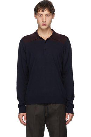 Dries Van Noten Navy & Burgundy Block Collar Long Sleeve Polo