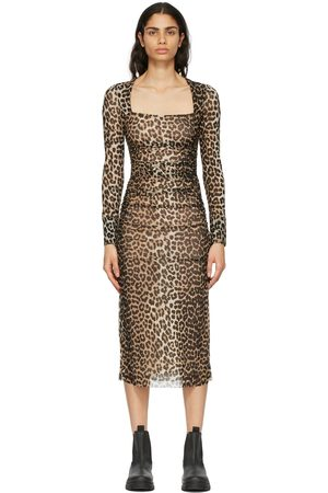GANNI Brown & Black Mesh Printed Dress