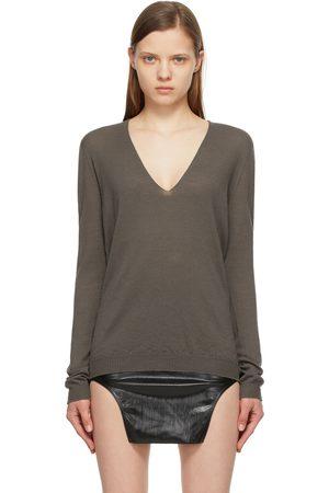 Rick Owens Grey Merino V-Neck Sweater