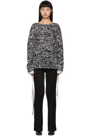 Joseph Black & White Hand-Knit Wool Sweater