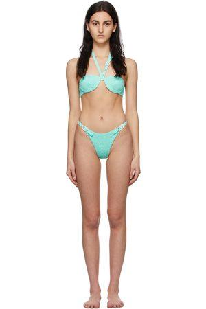 Women Bikinis - Medina Swimwear Blue Smocked Lagoon Bikini