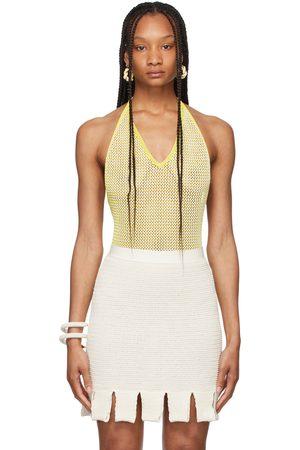 Bottega Veneta Yellow & White Chevron Fishnet Bodysuit