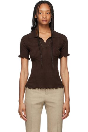Bottega Veneta Brown Lightweight Rib Knit Polo