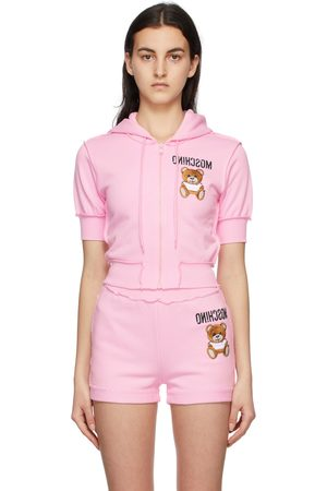 Moschino Inside Out Teddy Bear Cropped Zip-Up Hoodie