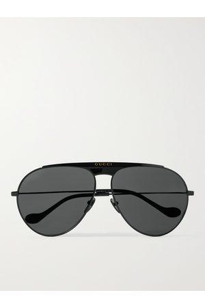 Gucci Aviator-Style Tortoiseshell Metal Sunglasses