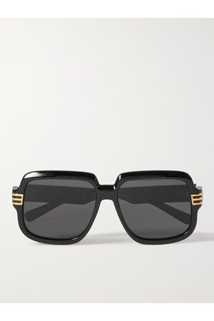 Gucci Men Sunglasses - Square-Frame Acetate and Gold-Tone Sunglasses