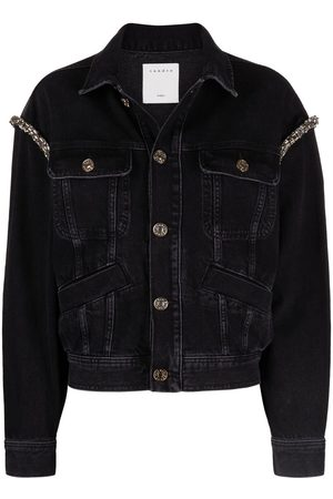 Sandro Women Denim Jackets - Crystal-embellished denim jacket