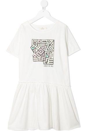 Le pandorine Logo-print ruffled T-shirt dress