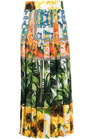 Dolce & Gabbana Mix-print pleated skirt
