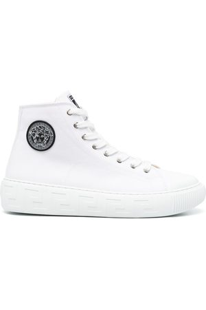 VERSACE Logo-patch high-top sneakers