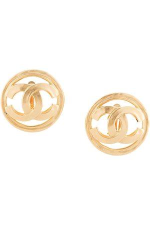CHANEL 1994 CC button earrings