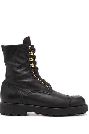 CHANEL CC stitch lace-up boots