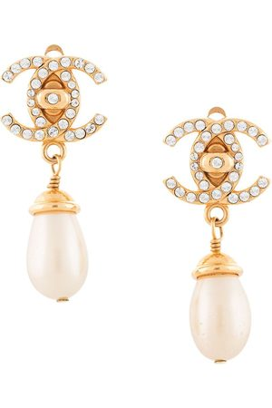 CHANEL 1996 CC pearl-embellished clip-on earrings