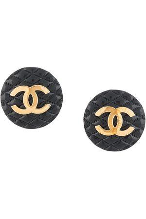 CHANEL Women Earrings - CC button clip-on earrings