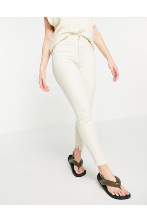 River Island High rise straight cut jeans with split hem in ecru
