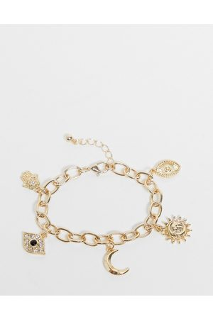 ASOS DESIGN Charm bracelet with celestial charms in tone