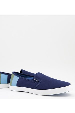 Original Penguin Wide fit slip on plimsolls in navy mix