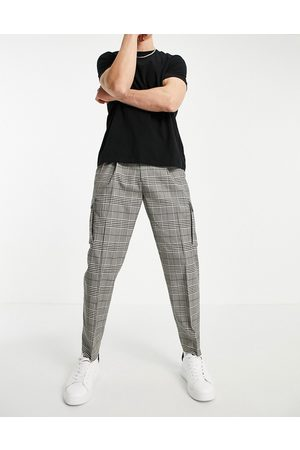Topman Tapered checked cargo trousers in