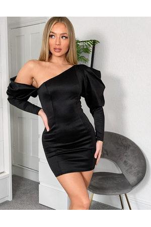 ASOS DESIGN Fallen shoulder statement sleeve bodycon mini dress in