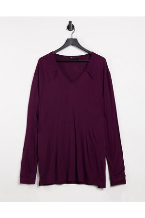 ASOS Long sleeve relaxed viscose t shirt with deep v neck in burgundy