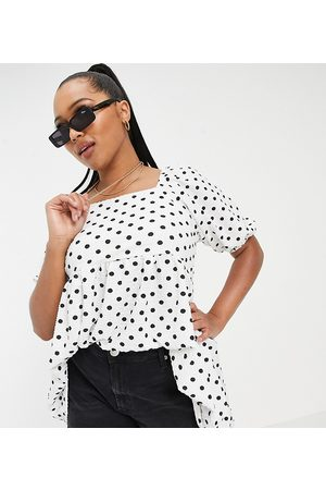 Yours Women Blouses - Exclusive puff sleeve blouse in monochrome spot-Neutral