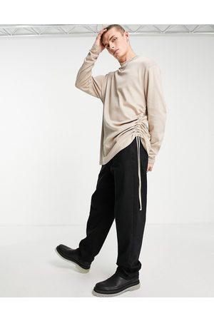 ASOS Men Sweatshirts - Sweatshirt with side ruching detail in -Neutral