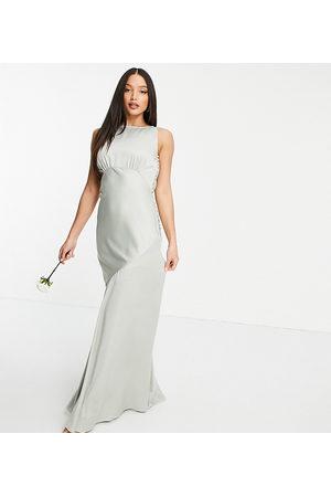 ASOS ASOS DESIGN Tall Bridesmaid cowl back satin maxi dress with button side detail