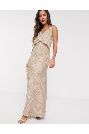 ASOS Cowl back satin embroidered maxi dress with ladder trim-Neutral