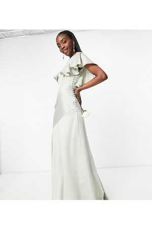 ASOS ASOS DESIGN Tall Bridesmaid flutter sleeve satin maxi dress with button side detail