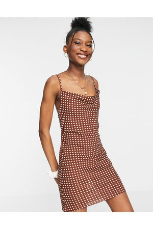 ASOS Women Casual Dresses - Mini slip dress in rust spot print-Multi