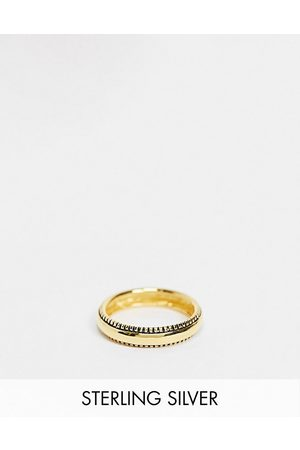 ASOS Men Rings - Sterling silver band ring in texture edge in