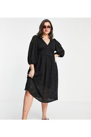 River Island Women Casual Dresses - Broidery midi smock dress in