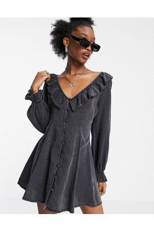 ASOS DESIGN Soft denim ruffle tea dress in washed