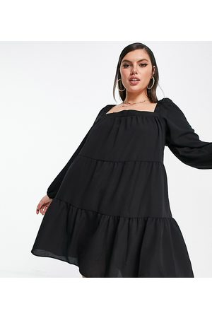 ASOS Women Casual Dresses - ASOS DESIGN Curve tiered trapeze mini smock dress in