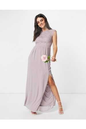 TFNC Bridesmaid lace open back maxi dress in